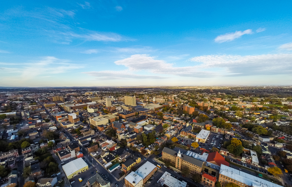 Aerial view of small city of Lancaster Pennsylvania.