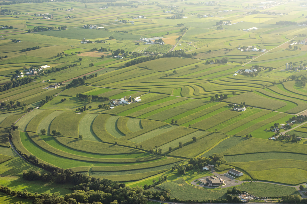 aerial view of farmland in Lancaster County, Pennsylvania.