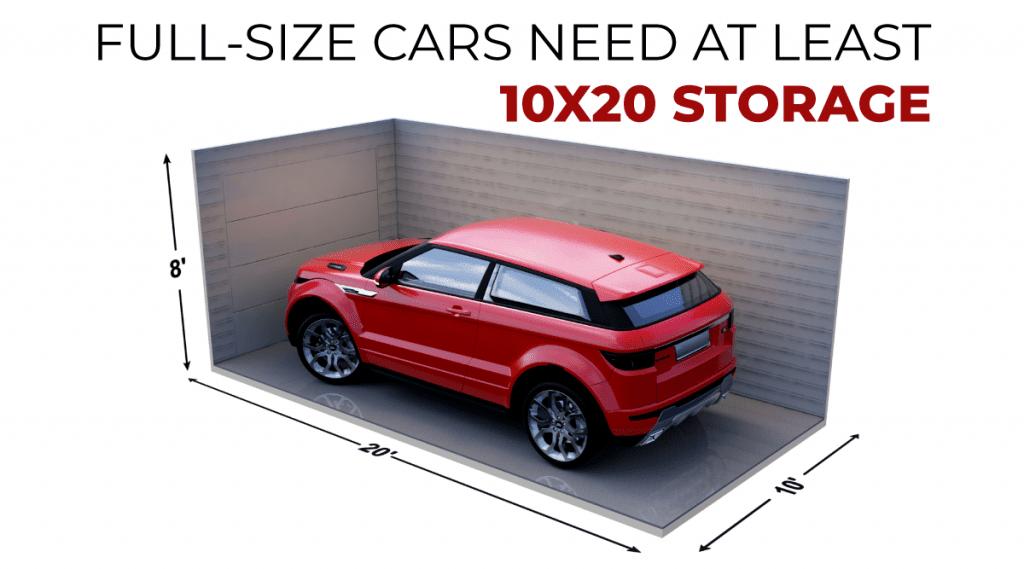 white size storage unit do i need for my car